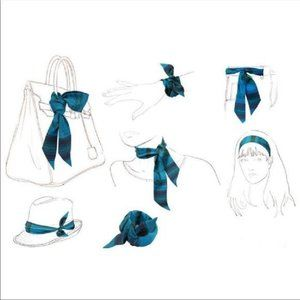 Accessories - Blue Bandana Print Twilly Purse Head Neck Scarf